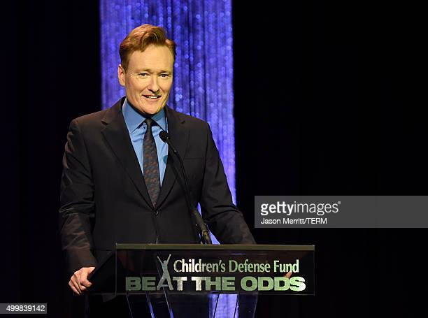 Host Conan O'Brien speaks onstage at the 25th Annual Children's Defense Fund Beat The Odds Awards at the Beverly Wilshire Four Seasons Hotel on...