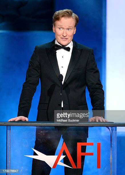 TV host Conan O'Brien speaks onstage during AFI's 41st Life Achievement Award Tribute to Mel Brooks at Dolby Theatre on June 6 2013 in Hollywood...