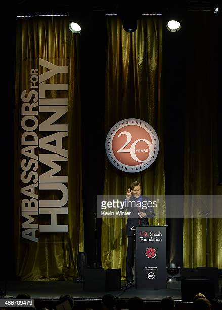 Host Conan O'Brien speaks onstage during USC Shoah Foundation's 20th Anniversary Gala at the Hyatt Regency Century Plaza on May 7 2014 in Century...