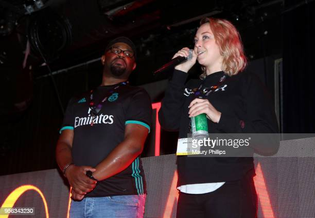Host Courtney 'Cizzurp' Carroll and Producer April O'Neil perform onstage at the 'istandard Producer And Rapper Showcase' during The 2018 ASCAP 'I...