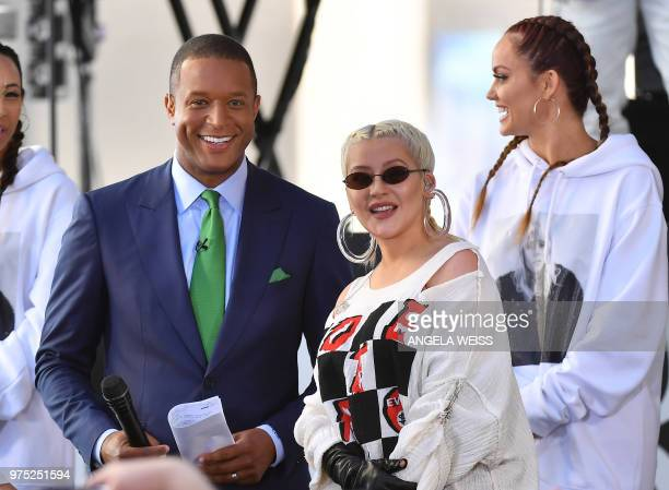 Host Craig Melvin and Singer/Songwriter Christina Aguilera onstage at NBC's 'Today' at Rockefeller Plaza on June 15, 2018 in New York City.