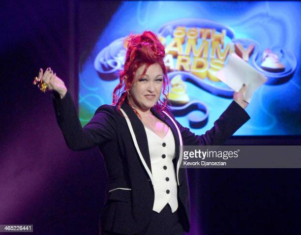 Host Cyndi Lauper speaks onstage during the 56th GRAMMY Awards PreTelecast Show at Nokia Theatre LA Live on January 26 2014 in Los Angeles California