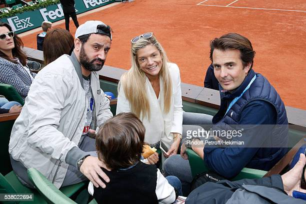 TV Host Cyril Hanouna Businessman Yannick Bollore and his wife Chloe attend Day Fourteen Women single's Final of the 2016 French Tennis Open at...