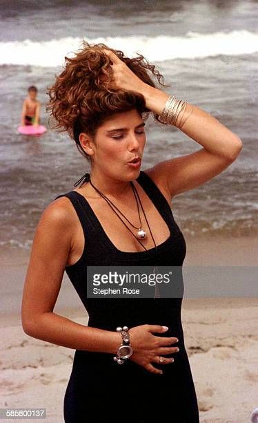 MTV host Daisy Fuentes during the filming of Beach MTV at the Beachcomber in Wellfleet Massachusetts 29th July 1990