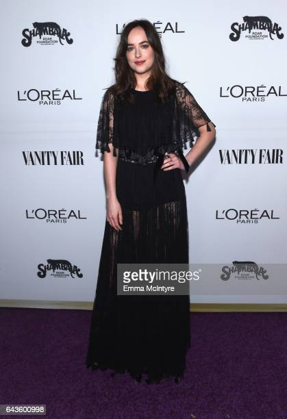 Host Dakota Johnson attends Vanity Fair and L'Oreal Paris Toast to Young Hollywood hosted by Dakota Johnson and Krista Smith at Delilah on February...
