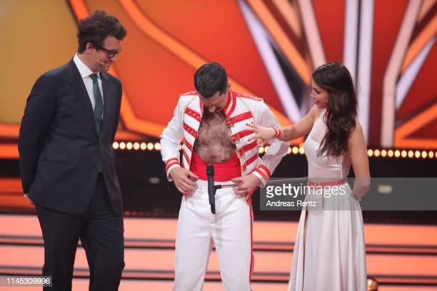 Host Daniel Hartwich Oliver Pocher and Christina Luft speak on stage during the 5th show of the 12th season of the television competition Let's Dance...