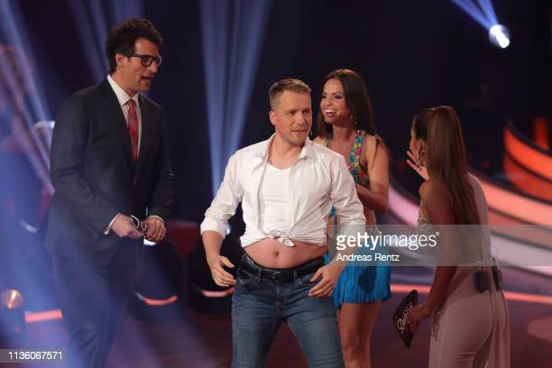 Host Daniel Hartwich Oliver Pocher Christina Luft and host Victoria Swarovski seen on stage during the preshow Wer tanzt mit wem Die grosse...