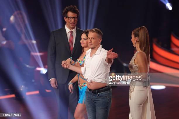 Host Daniel Hartwich Oliver Pocher Christina Luft and host Victoria Swarovski seen on stage during the preshow Wer tanzt mit wem Die grosse...