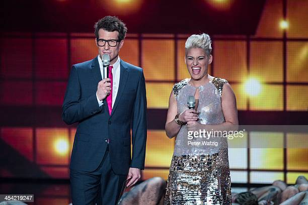 Host Daniel Hartwich with Maria Fischer during the second Semifinal of 'Das Supertalent' TV Show on December 07 2013 in Cologne Germany
