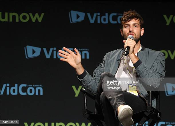 Host Daniel Preda speaks on stage as Joey Graceffa premieres his YouTube Red Original Escape The Night during VidCon at the Anaheim Convention Center...