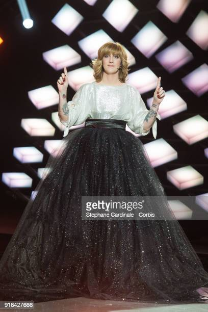 Host Daphne Burki attends the 33rd 'Les Victoires De La Musique' at La Seine Musicale on February 9 2018 in BoulogneBillancourt France
