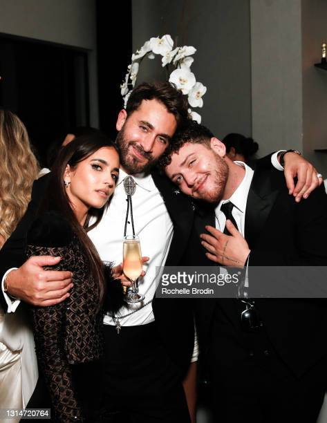 Host Darren Dzienciol, Elisha Herbert, and, Bazzi attend the Darren Dzienciol & Richie Akiva's Oscar party 2021 on April 25, 2021 in Bel Air,...