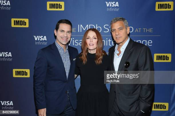 Host Dave Karger actress Julianne Moore and director George Clooney of 'Suburbicon' attend The IMDb Studio Hosted By The Visa Infinite Lounge at The...