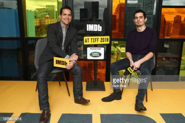 Host Dave Karger and director Damien Chazelle of First Man attend The IMDb Studio presented By Land Rover At The 2018 Toronto International Film...