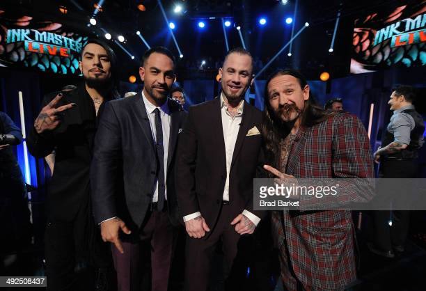 Host Dave Navarro Chris Nunez Season Four winner Scott Marshall and Oliver Peck pose for a photo during the Spike TV's Ink Master Season 4 LIVE...