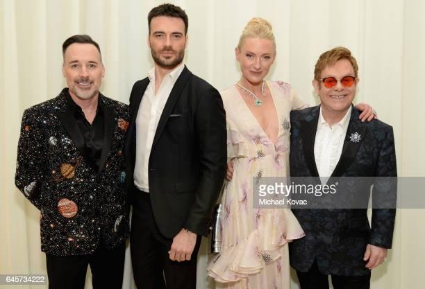 Host David Furnish model Giulio Berruti Princess Lilly Zu Sayn Wittgenstein Berleburg and host Elton John attend the 25th Annual Elton John AIDS...