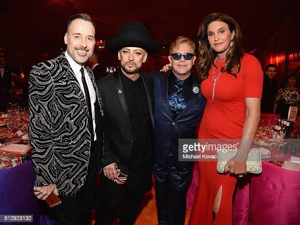 Host David Furnish recording artist Boy George host Sir Elton John and tv personality Caitlyn Jenner attend the 24th Annual Elton John AIDS...