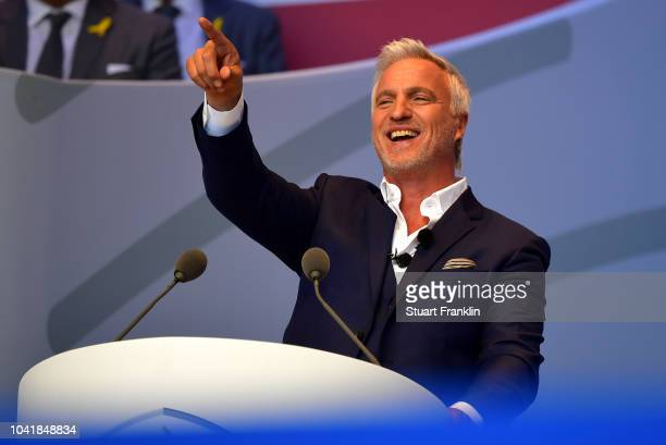 Host David Ginola speaks during the opening ceremony for the 2018 Ryder Cup at Le Golf National on September 27 2018 in Paris France