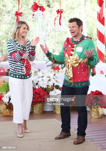 Host Debbie Matenopoulos and Actor /Singer Nick Lachey visit Hallmark's 'Home Family' celebrating 'Christmas In July' with an ugly sweater contest at...