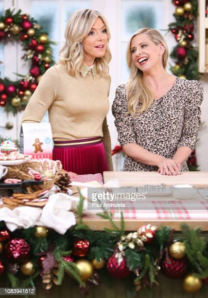 Host Debbie Matenopoulos and Actress Sarah Michelle Geller on the set of Hallmark's 'Home Family' at Universal Studios Hollywood on December 17 2018...
