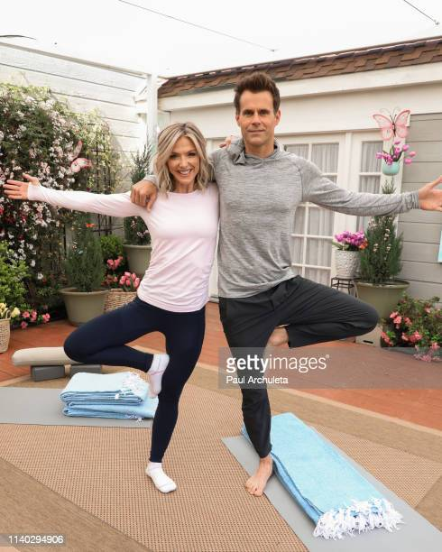 "Host Debbie Matenopoulos and Cameron Mathison on the set of Hallmark's ""Home & Family"" at Universal Studios Hollywood on April 03, 2019 in Universal..."