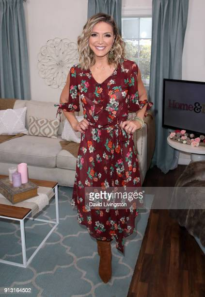 Host Debbie Matenopoulos poses at Hallmark's 'Home Family' at Universal Studios Hollywood on February 1 2018 in Universal City California
