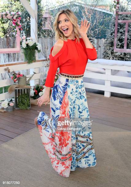 Host Debbie Matenopoulos poses at Hallmark's 'Home Family' at Universal Studios Hollywood on February 6 2018 in Universal City California