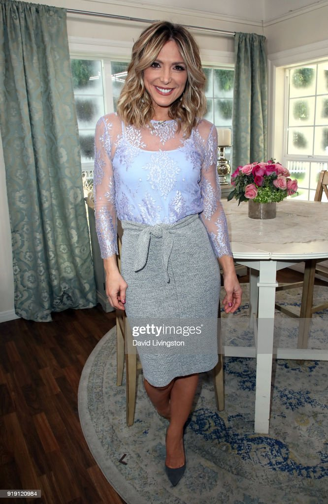 Host Debbie Matenopoulos poses at Hallmark's 'Home & Family' at Universal Studios Hollywood on February 16, 2018 in Universal City, California.