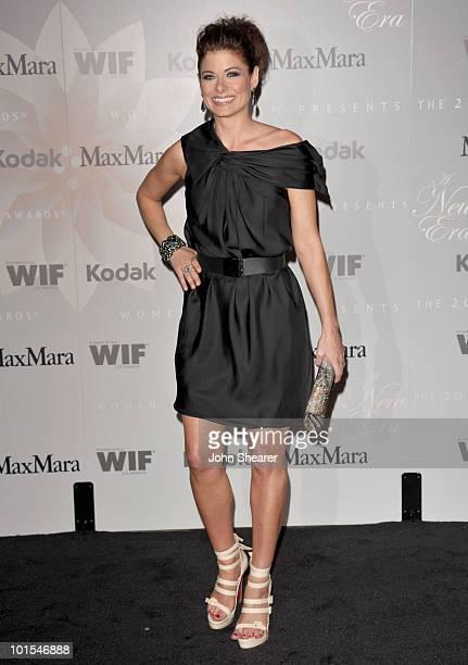 Host Debra Messing arrives at the 2010 Crystal + Lucy Awards: A New Era at Hyatt Regency Century Plaza on June 1, 2010 in Century City, California.