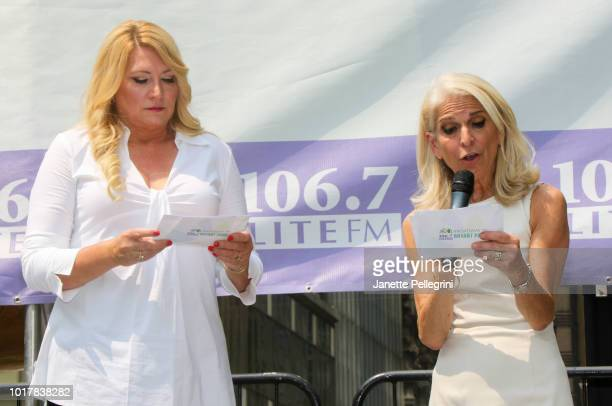 Host Delilah and Catherine Russell from the cast of Perfect Crime attend 1067 LITE FM's Broadway in Bryant Park August 16 2018 in New York City