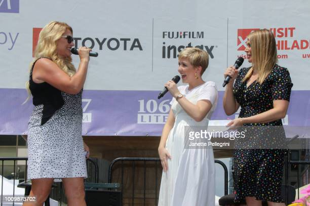 Host Delilah with Cozi Zuehlsdorff and Heidi Blickenstaff from the cast of The Disney Channel's Freaky Friday attend 1067 LITE FM's Broadway in...