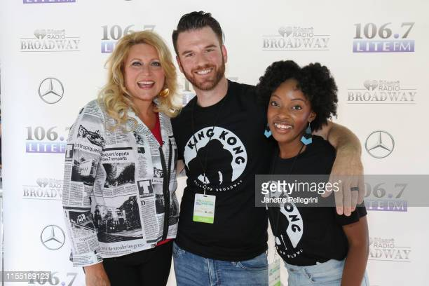 Host Delilah with Rory Donovan and Kayla Davion from the cast of King Kong attend 1067 LITE FM's Broadway In Bryant Park on July 11 2019 in New York...