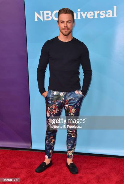 TV host Derek Hough attends NBCUniversal's Summer Press Day 2018 at The Universal Studios Backlot on May 2 2018 in Universal City California