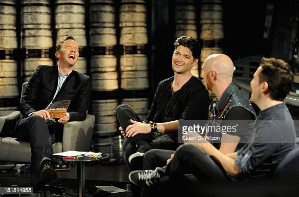 Host Dermot Whelan with guests Danny O'Donoghue Mark Sheehan and Glen Power from The Script on the From The Storehouse With Dermot Whelan show which...