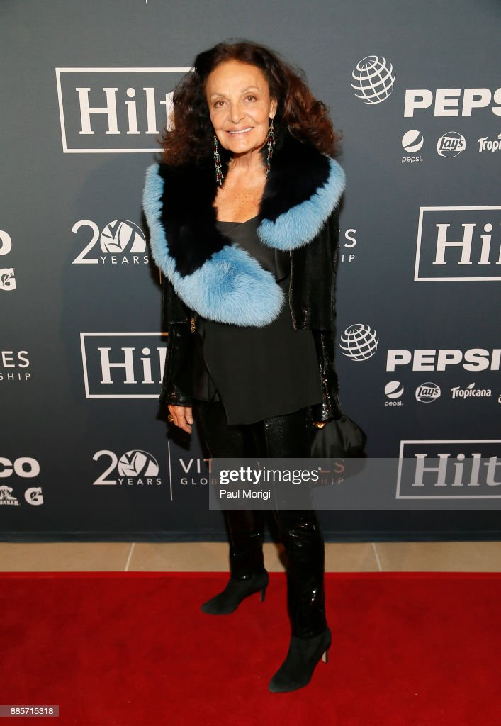 Host Diane Von Furstenberg attends Vital Voices Global Partnership: 2017 Voices Against Solidarity Awards at IAC HQ on December 4, 2017 in New York City.