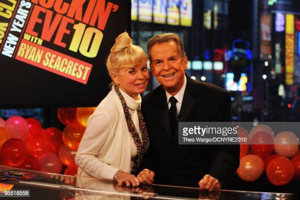 Host Dick Clark and wife Kari Clark onstage during Dick Clark's New Year's Rockin' Eve With Ryan Seacrest 2010 in Times Square on December 31 2009 in...