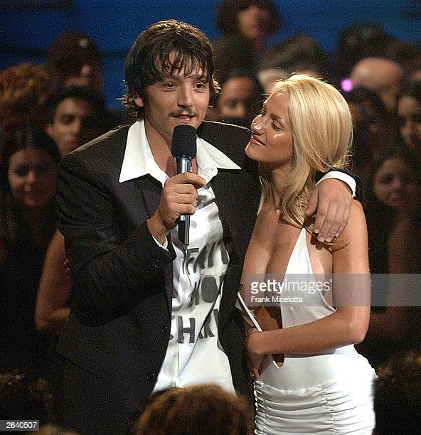 Host Diego Luna talks with Luciana Salazar during the MTV Video Music Awards Latin America 2003 at the Jackie Gleason Theater on October 23 2003 in...