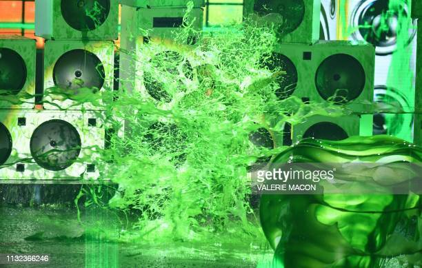 Host DJ Kahled gets slimed on stage during the 32nd Annual Nickelodeon Kids' Choice Awards at the USC Galen Center on March 23 2019 in Los Angeles