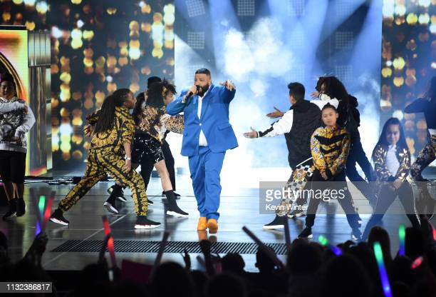Host DJ Khaled performs onstage at Nickelodeon's 2019 Kids' Choice Awards at Galen Center on March 23 2019 in Los Angeles California
