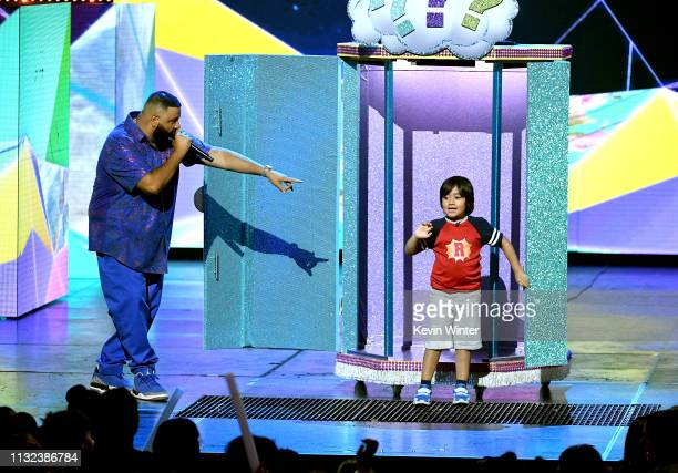 Host DJ Khaled speaks onstage at Nickelodeon's 2019 Kids' Choice Awards at Galen Center on March 23 2019 in Los Angeles California