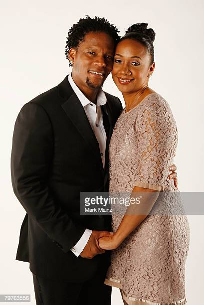 Host DL Hughley and wife Ladonna Hughley pose for a portrait at the 39th NAACP Image Awards held at the Shrine Auditorium on February 14 2008 in Los...