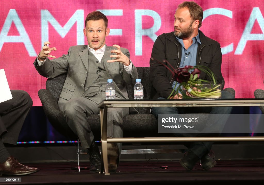 Host Dominic Monaghan (L) and Producer Paul Kilback speak onstage at the 'Wild Things with Dominic Monaghan' panel discussion during the BBC America portion of the 2013 Winter TCA Tour- Day 2 at Langham Hotel on January 5, 2013 in Pasadena, California.