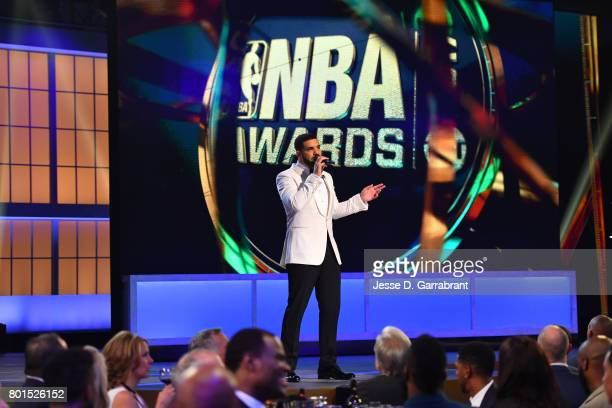 Host Drake during the 2017 NBA Awards Show on June 26 2017 at Basketball City in New York City NOTE TO USER User expressly acknowledges and agrees...