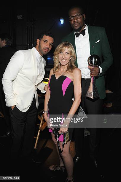 Host Drake producer Maura Mandt and NBA player Kevin Durant attend The 2014 ESPY Awards at Nokia Theatre LA Live on July 16 2014 in Los Angeles...