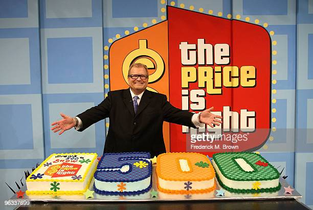 Host Drew Carey celebrates his 500th The Price Is Right television show at CBS Television City on February 1 2010 in Los Angeles California
