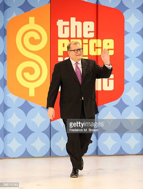 Host Drew Carey speaks during his 100th Episode of The Price Is Right celebration at CBS Television City February 5 2008 in Los Angeles California