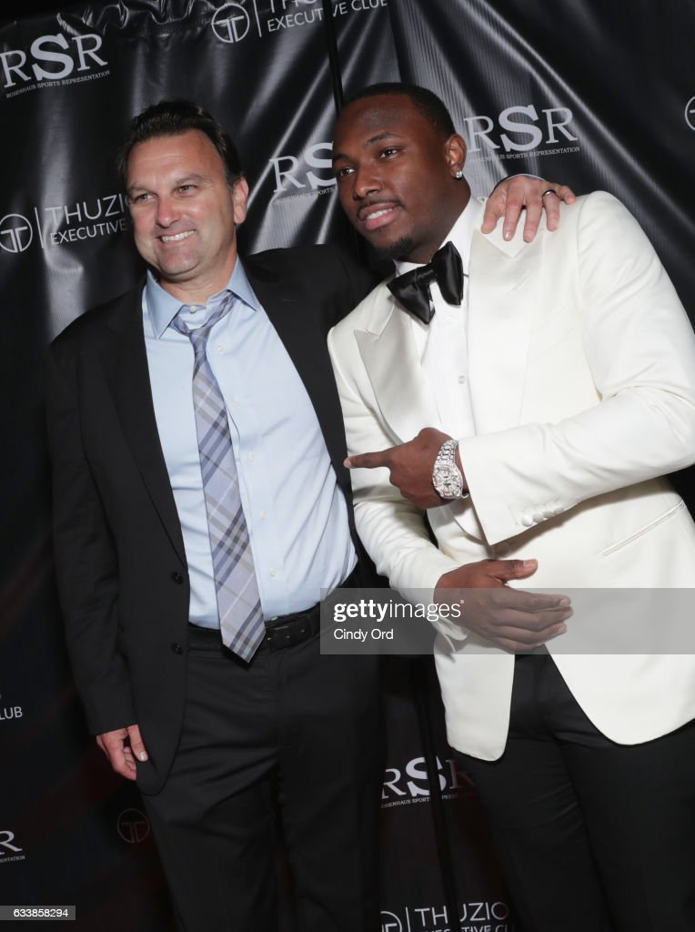 Host Drew Rosenhaus and NFL player LeSean McCoy arrive at the Thuzio Executive Club and Rosenhaus Sports Representation Party at Clutch Bar during Super Bowl Weekend, on February 4, 2017 in Houston, TX.
