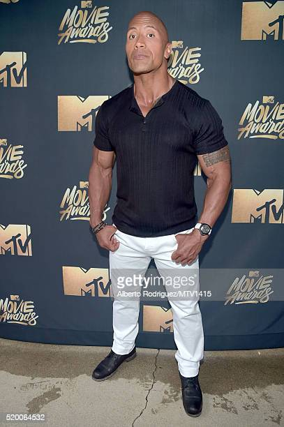 Host Dwayne Johnson attends the 2016 MTV Movie Awards at Warner Bros Studios on April 9 2016 in Burbank California MTV Movie Awards airs April 10...