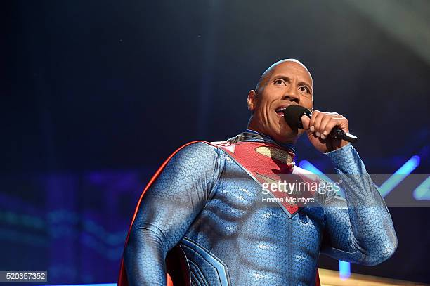 Host Dwayne Johnson speaks onstage during the 2016 MTV Movie Awards at Warner Bros Studios on April 9 2016 in Burbank California MTV Movie Awards...