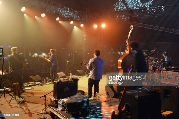 Host Ed Helms and musicians perform with 'The Bluegrass Situation Roots SuperJam' onstage at That Tent during Day 4 of the 2017 Bonnaroo Arts And...